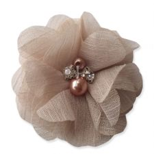 5cm Pearl Diamante ALMOND Fabric Flower Applique